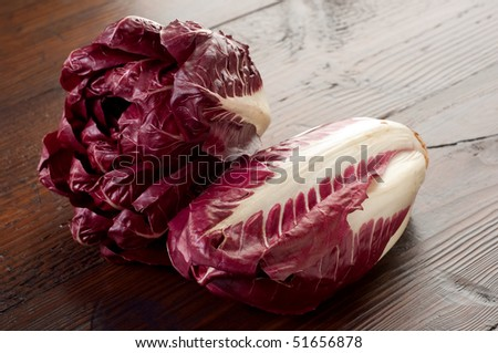 chicory radicchio on wood table