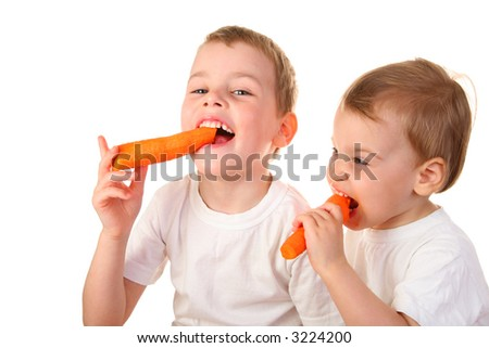 chidren with carrot