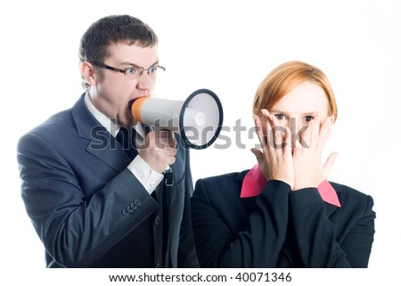 Chief Dismiss woman co-worker (isolated) - stock photo