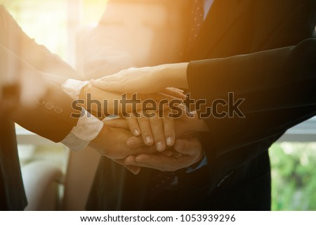 Chief Handshake with Staff. Team Meeting Introduces new Employees in Conference Room,Businessmen and Politicians are Working Together to Prepare for Coming Election, Tapping into Coalition Government