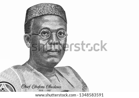 Chief Obafemi Awolowo Portrait from Nigeria 100 Naira Banknotes. An Old paper banknote, vintage retro. Famous ancient Banknotes. Collection.