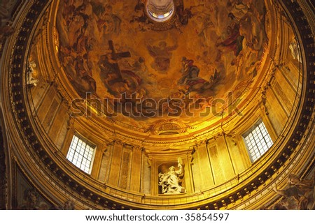Chiesa del Gesu Church Golden Dome Cupola Statues and Paintings Built in Late 16th Century by the Jesuits Rome Italy A prototype of a counter-reformation church.  Built in 1568-1584
