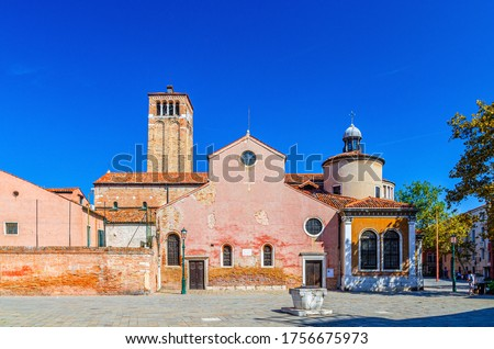 Chiesa di San Giacomo dall'Orio or San Giacomo Apostolo catholic church building with bell tower in Venice historical city centre, blue clear sky background in summer day, Veneto Region, Italy Photo stock ©
