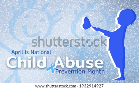 Child Abuse Prevention Month. Celebrate annual in April in United States. Stop child violence. Children protection and safety month. Unity for children. Poster, banner, background.  Stock photo ©