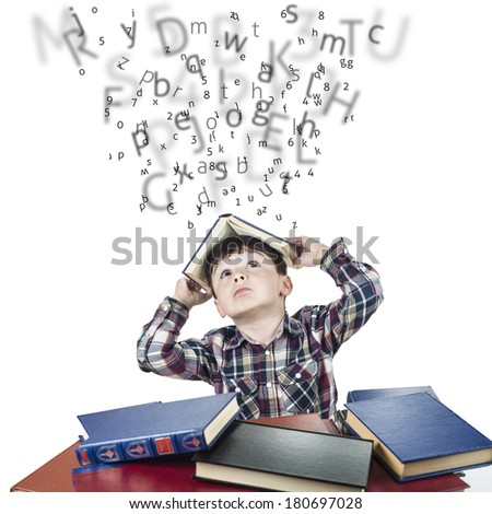 Child against the rain of numbers and letters with a book over his head