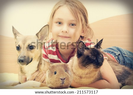 child and a cat and a dog and guinea pig