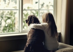Child and  dog by the window.
