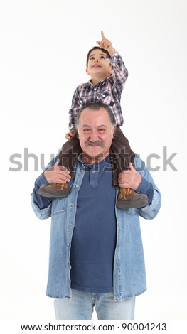 Child and grandfather stay together on white background