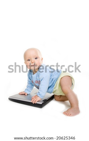 Child and laptop isolated on white