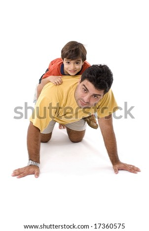 Child and Man playing together on white .