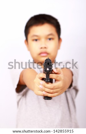 child and on white background