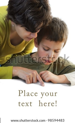 child and woman pointing at copy space below - stock photo