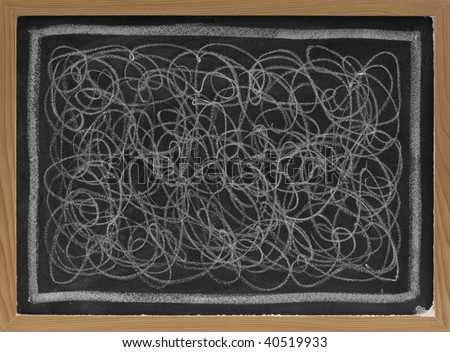 child art - white chalk chaotic scribble abstract on blackboard