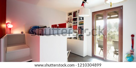 Child bedroom with bunk bed. Nobody inside