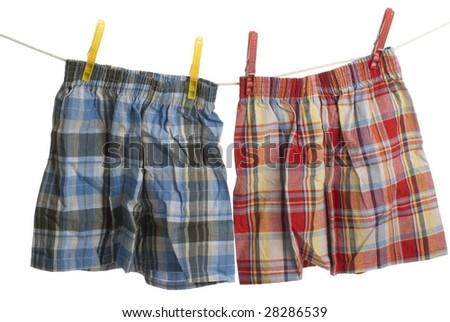 Child boxer shorts on laundry line