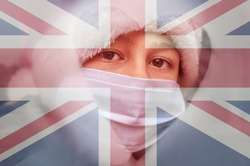 Child boy girl in a protective mask against background of British flag looking out window. Lockdown in the UK. Corona virus mutated covid-19. Strengthening quarantine. Coronavirus is mutating. Health