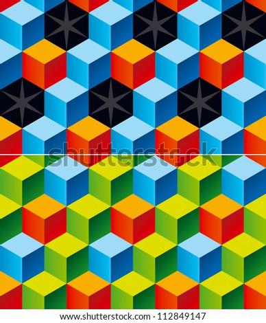 Child Bricks. Set of Two Seamless Patterns. Rasterized Version