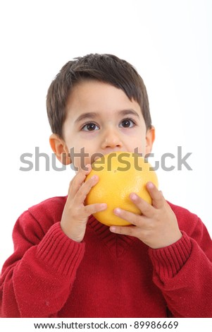 Child bringing basket fruit on white background - stock photo
