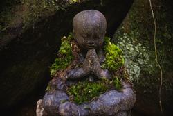 Child Buddha statue praying, with moss scarf