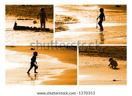 Child building sand castle on the seashore
