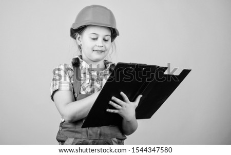 Child care development. Safety expert. Future profession. Foreman inspector. Repair. Builder engineer architect. Kid worker in hard hat. small girl repairing in workshop. My workshop and my rules #1544347580