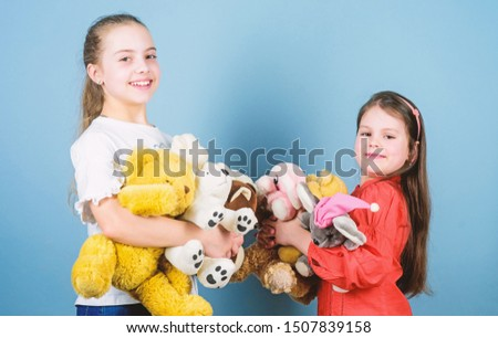 Child care. Sisters best friends play. Sweet childhood. Childhood concept. Softness and tenderness. Charity sale. Love and friendship. Kids adorable cute girls play soft toys. Happy childhood. #1507839158