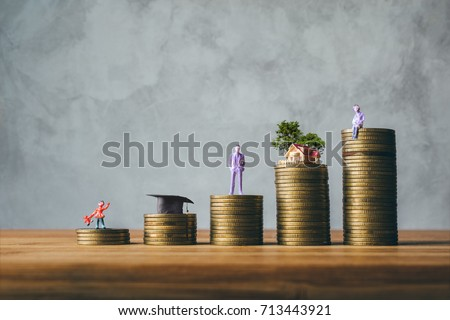 child, congratulations graduates, business man, house, old woman on top of the money saving money financial concept.