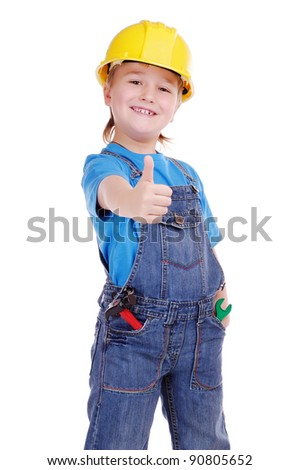 Child constructor with thumbs up