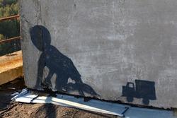 Child crawling, street art in Pripyat, Chernobyl