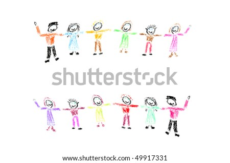 stock photo : Child drawing of colorful happy children holding hands made
