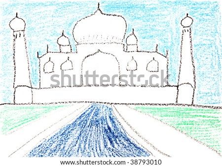 Child drawing of Taj Mahal made with wax crayons