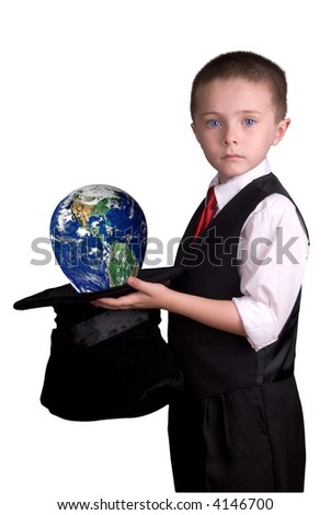 child dressed as a magician with hat full of the earth isolated over a white background