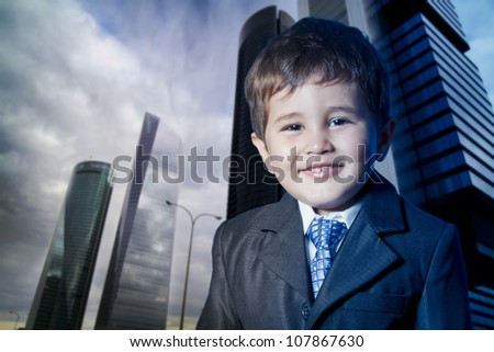 child dressed businessman smiling