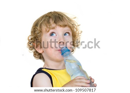 Child drinking from  water bottle