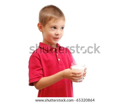 Child drinks milk isolated on white background