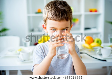 Child drinks water