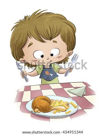 child eating chicken with potatoes