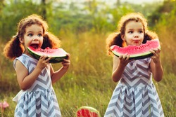 Child eating watermelon in the garden. Kids eat fruit outdoors. Healthy snack for children. Little girls playing in the garden biting a slice of watermelon