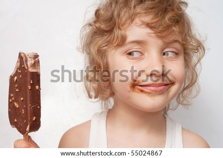 Child eats ice