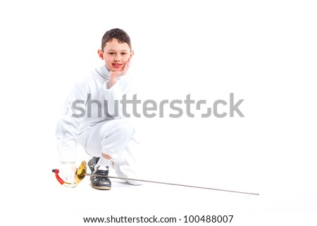 Child epee fencing lunge. Isolated on white background.