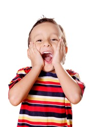 Child expressing surprise and happiness over white background