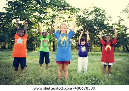 Child Friends Boys Girls Playful Nature Offspring Concept - Shutterstock ID 488678380