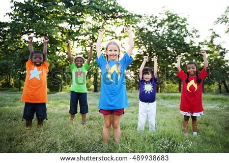 Child Friends Boys Girls Playful Nature Offspring Concept - Shutterstock ID 489938683