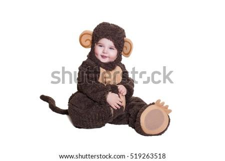 600a5d3986e9 FUN BABY AND ORANGE, JOYFUL BABY GIRL IN CLOTHING monkey. Charming Baby