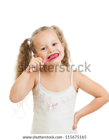 child girl cleaning teeth isolated on white background