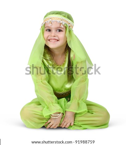 child girl dressed arabian isolated on white - stock photo