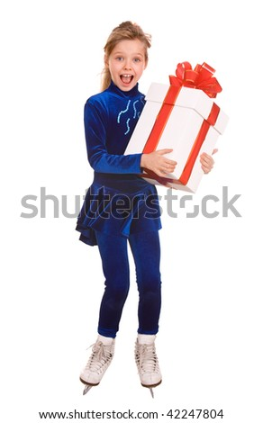Child girl sport figure skating in white skate with gift box. Isolated.