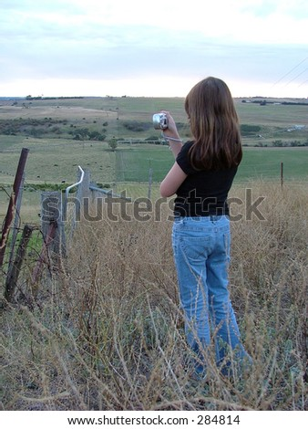 child girl taking photograph picture