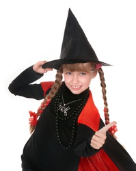 Child girl witch in black costume  with thumb. Isolated.