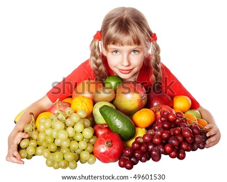 Child girl with group of vegetable and fruit. Isolated.